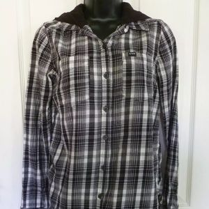 Hurley Plaid Flannel shirt, size XS, Black & White